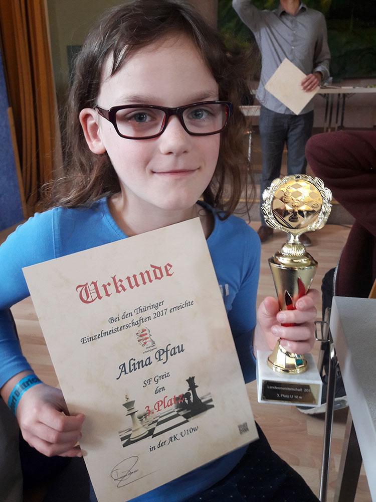 Schach: Alina Pfau wurde 3. bei der Thüringer